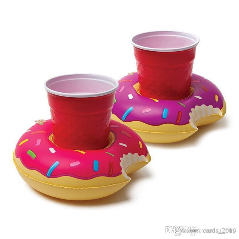 Aufblasbare Donut-Untersetzer Getränkehalter Lovely Donut Swim Float Pool schwimmend für 12 oz Limonaden auf Ihrer Beach Party
