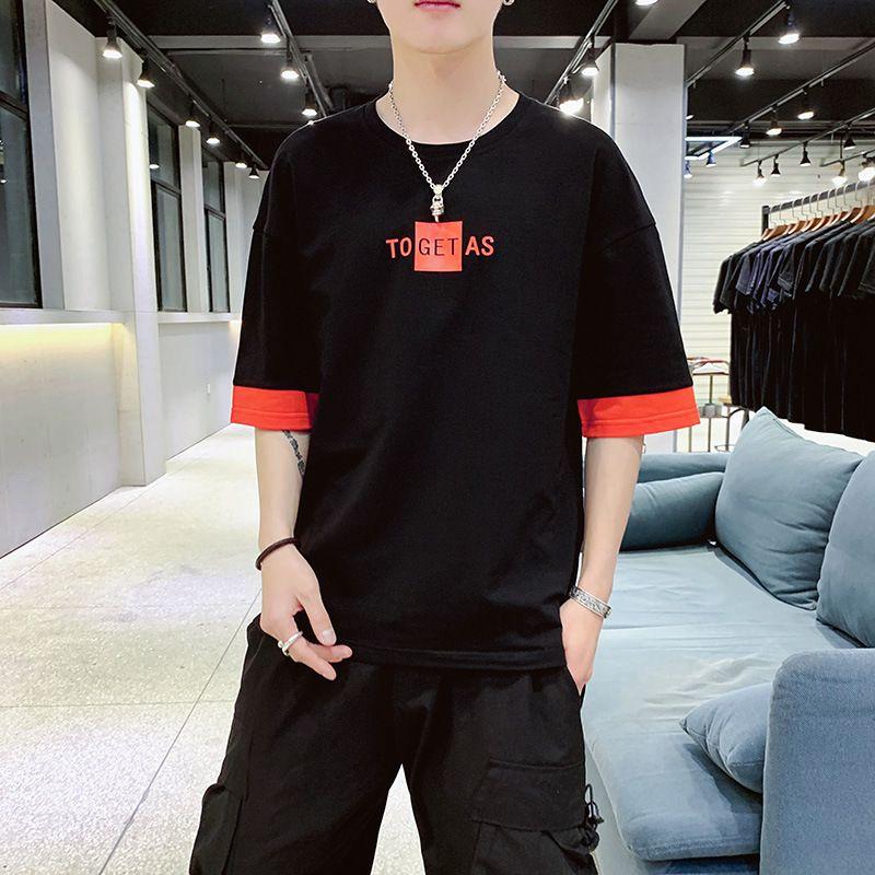 Mensentwerfer Teenager runden Kragen Kurzarm lose beiläufige Hälfte Ärmeln T-Shirt Männer