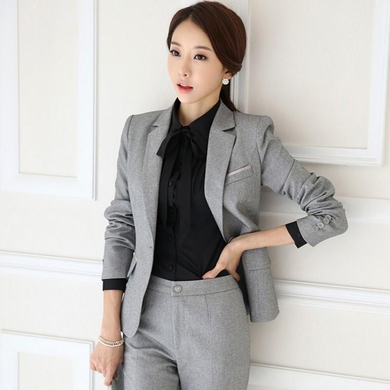 Señoras de la oficina de negocios formal de la falda del trabajo del juego Slim Fit cuello con muesca Trajes chaqueta de la falda de las mujeres otoño uniforme de la chaqueta Equipos