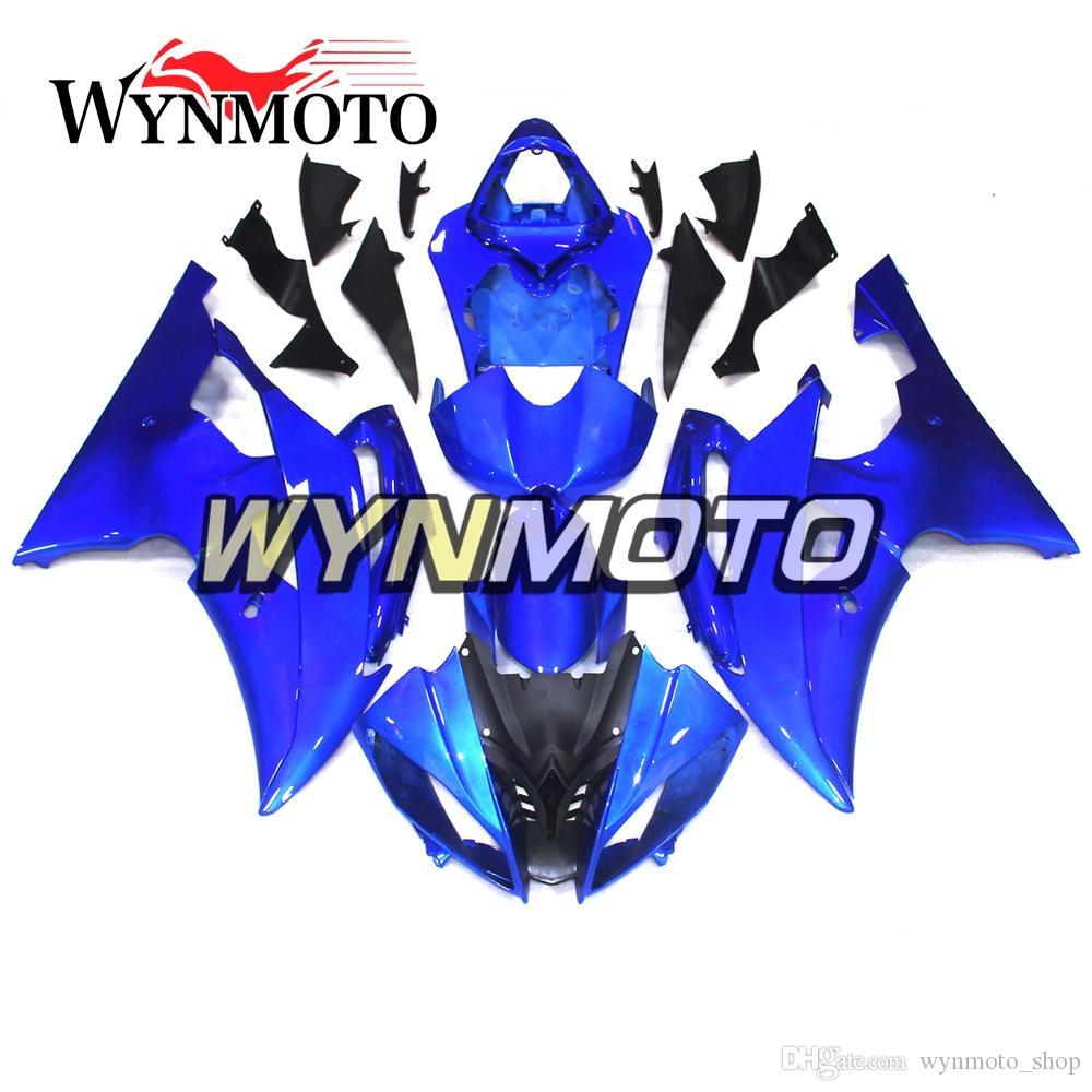 Carénages de moto complets pour Yamaha YZF 600 R6 2008 - 2016 09 10 11 12 13 14 15 Injection de plastique ABS pour moto, bleu, bleu