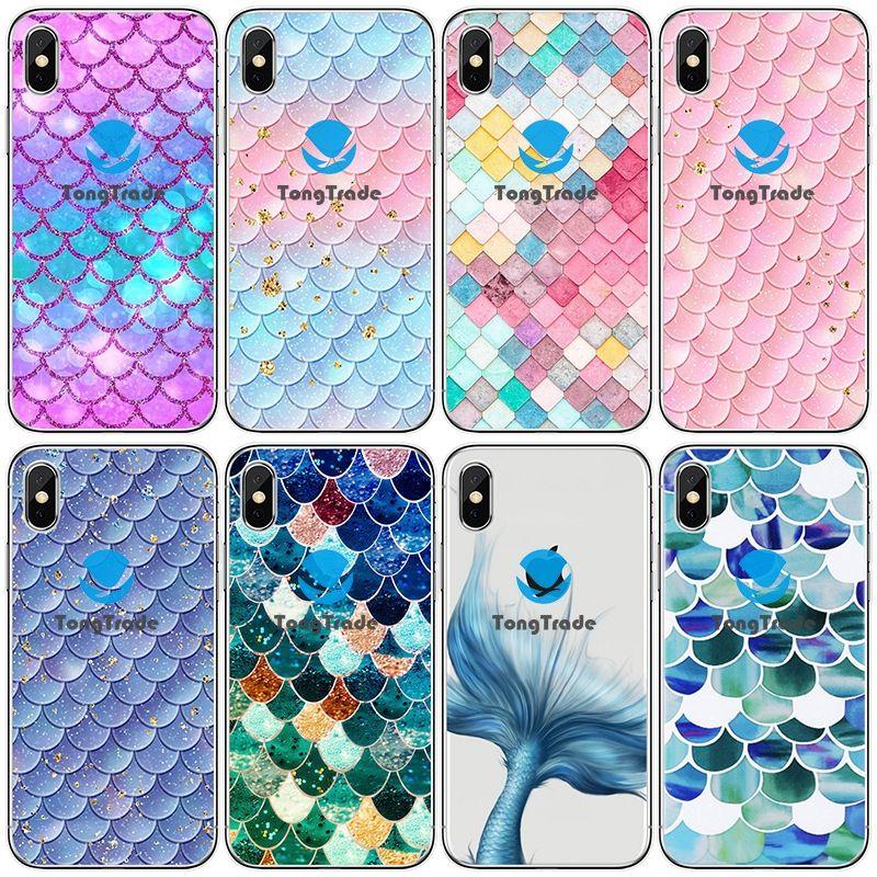 [TongTrade] Soft-Silikon-TPU für iPhone 11 Pro 8 7 6s 5s X XS Max Plus Huawei P30 P20 Pro Farbe Fisch-Skala-Gitter-Gitter-Gewohnheits-Fall