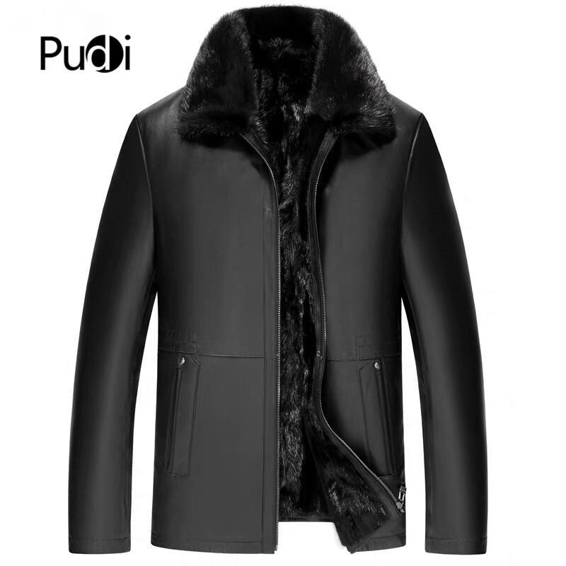 Pudi MT916 2019 Neue Mode Männer Jacke Aus Echtem Schafsleder Wink Haar Innen Echtpelz Jacke Winter Warmer Mantel Outwear
