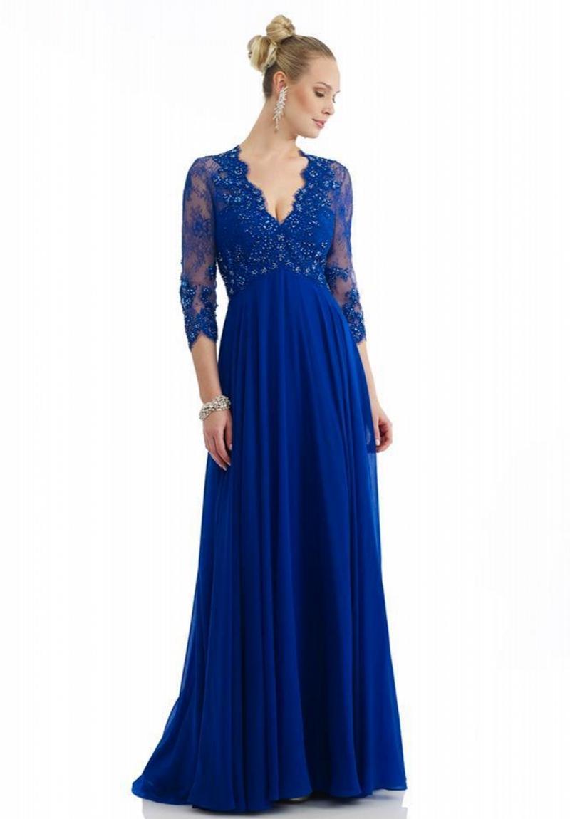 Custom Made High Quality Blue Mother Of The Bride Dresses Beads V-neck 3/4 Long Sleeve Floor Length Zipper Evening Dress