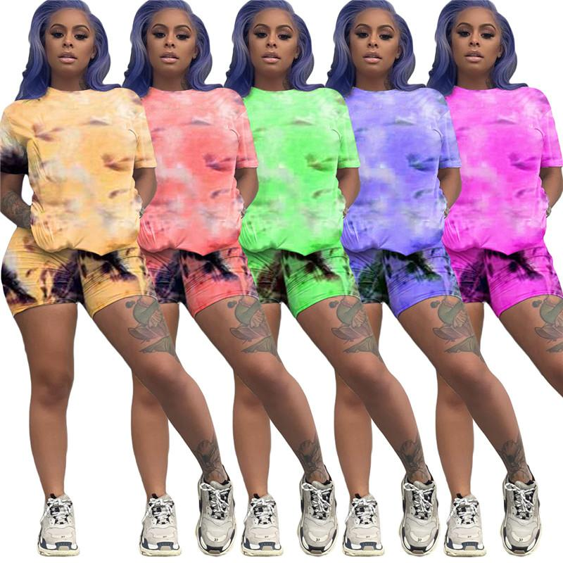 Women Summer Tie Dyed 2pcs Running Suits Pullover Tops Shorts Clothing Sets Designer Slim High Waist Tracksuits