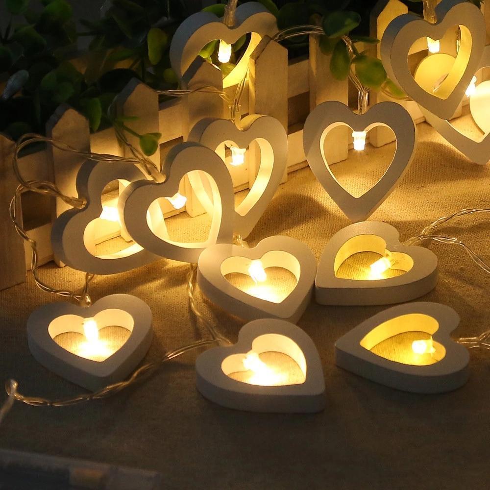 Festival de Navidad cadena de madera en forma de amor de la lámpara de la lámpara luz de la noche Garland fiesta de cumpleaños de la lámpara decoración de la tabla Luces Jk0411