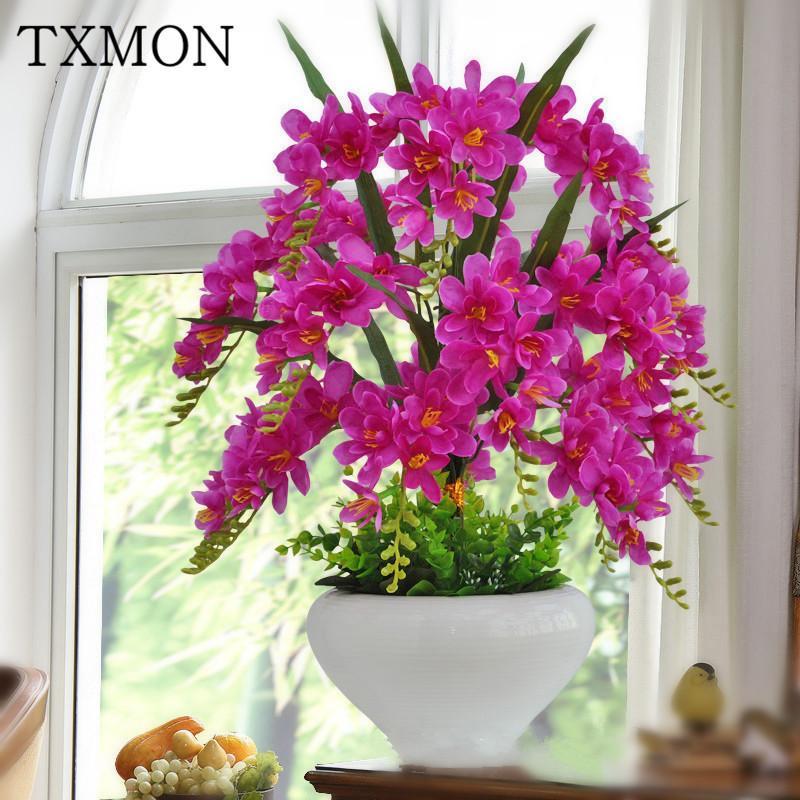 Zart und faszinierende Phalaenopsis Simulation Blumentöpfe Ornamente Landschaftsraum Tisch Innendekoration CJ191216 Einstellung leben