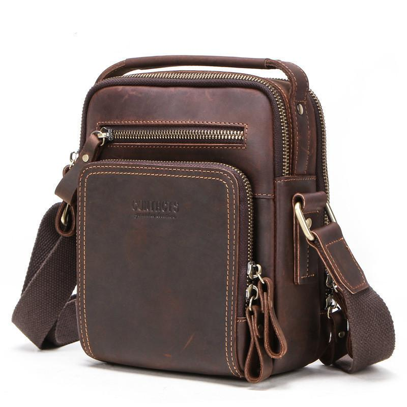 Crazy Horse Leather Man Oblique Satchel More Function Male Mobile Phone Single Shoulder Package purses messenger bag Crossbody New Design
