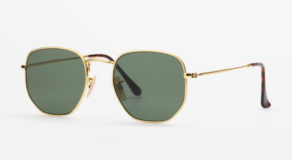 Nuovo HIGHT qualità Occhiali da sole esagonali Uomini E donne Occhiali da sole vintage Occhiali da sole uv400 vetro riflettente Occhiali da sole in metallo B3548 Occhiali da sole