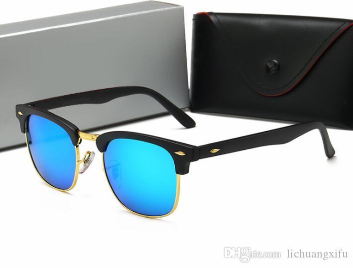 Neue klassisches Niet Halb Metall Sonnenbrille für großen Rahmen Sonnenbrille Frauen für Männer Sonnenbrillen 3016