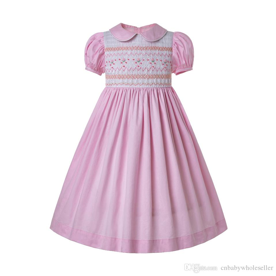 Pettigirl Summer Inexpensive Smocked Dress For Toddlers Smocked Bubble Baby smocking frocks Pink Girl Costumes G-DMGD204-A290