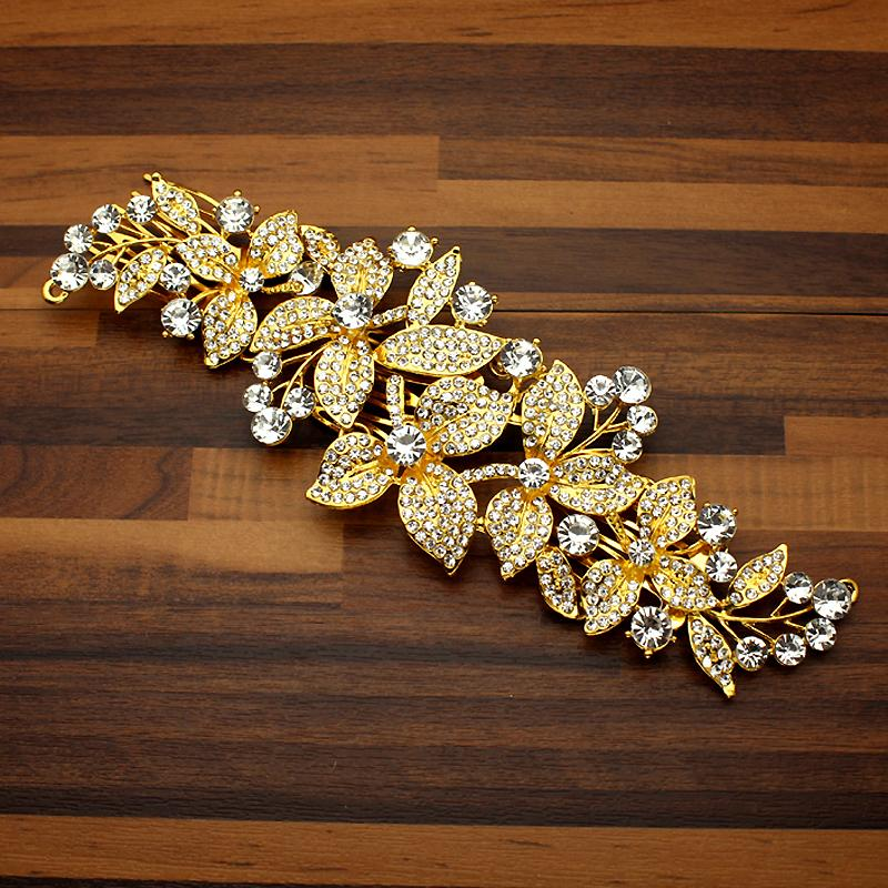 ewelry & Accessories Fashion Alloy Gold Luxury Crystal Women Wedding Head Dress Floral Leaf Diamante Bridal Hair Comb Clip For Bride Jewe...