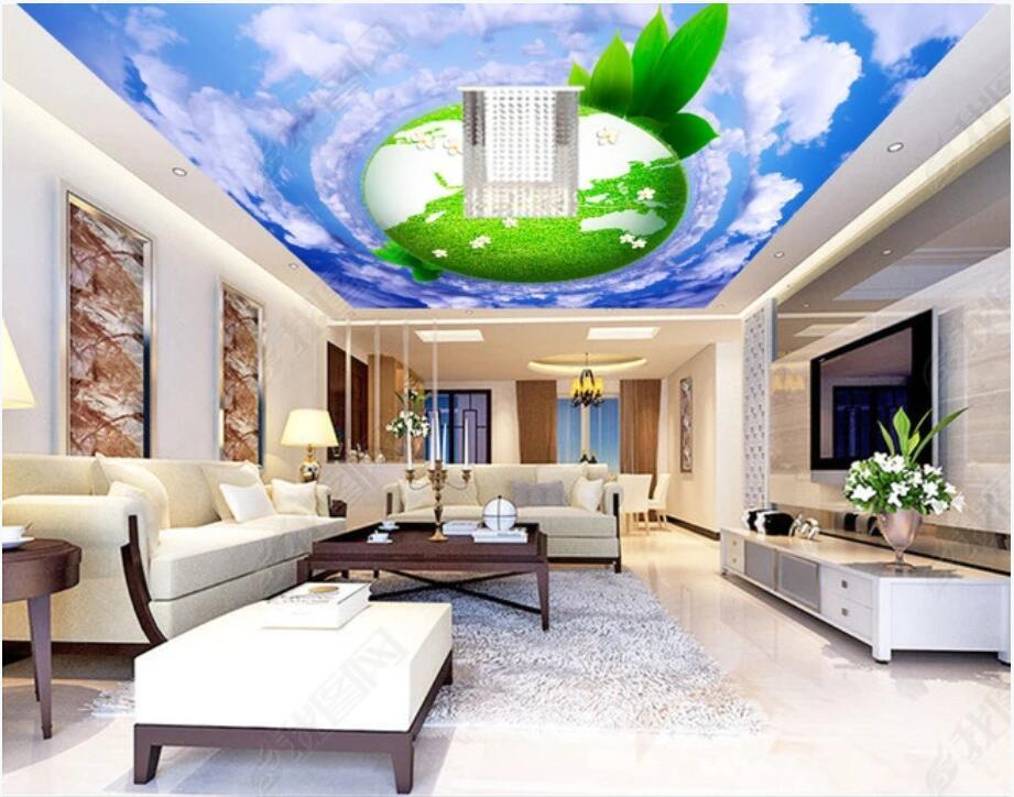 3d ceiling murals self adhesive wallpaper custom mural Blue sky and white clouds green earth ceiling ceiling mural 3d photo wallpaper