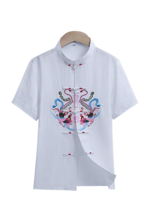 Shanghai Story Shanghai Story Linen Short Sleeve Dragon Phoenix Embroidery Chinese Traditional Tai Chi Clothing Kung Fu Shirt for Men Women