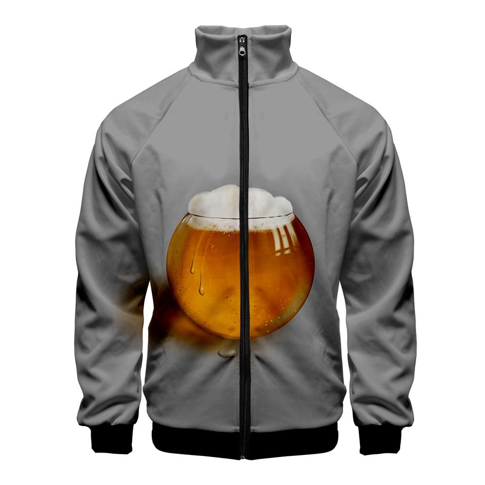Beer 3D Printed Stand Collar Zipper Jacket Women/Men Fashion Long Sleeve Jacket 2019 Hot Sale Casual Streetwear Clothes