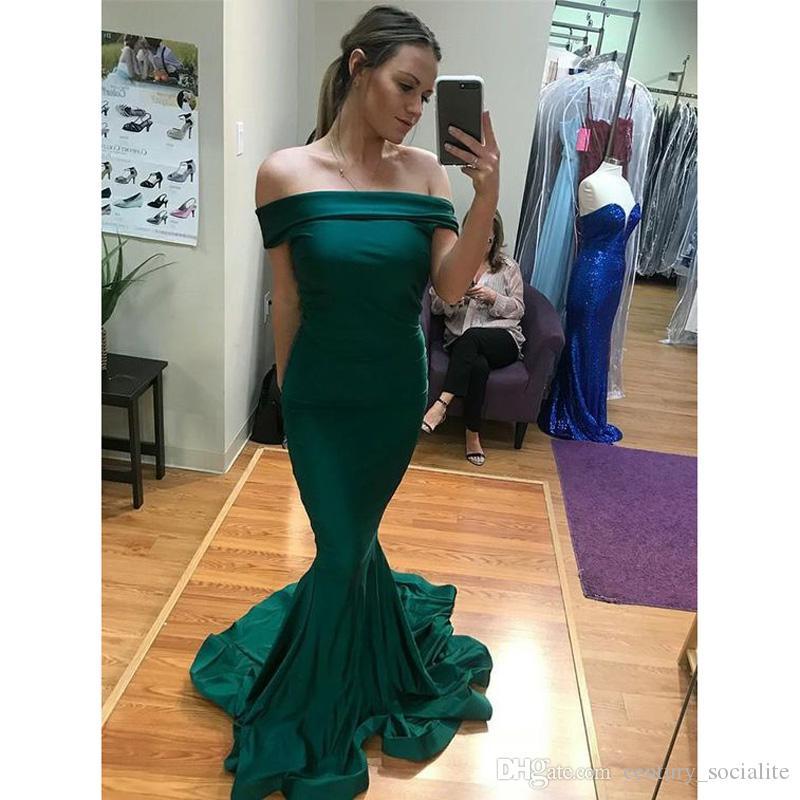 어두운 녹색 이브닝 드레스 Shoudler 스윕 기차 말 머리 지퍼 플러스 사이즈 공식 드레스 댄스 파티 드레스