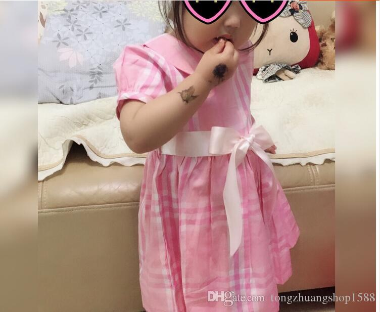 b11cede29cb87 ... Dış Ticaret Çocuk Elbisesi Kız Çocuk Yakası Pembe Kareli Bant Zayıflama  Elbisesi