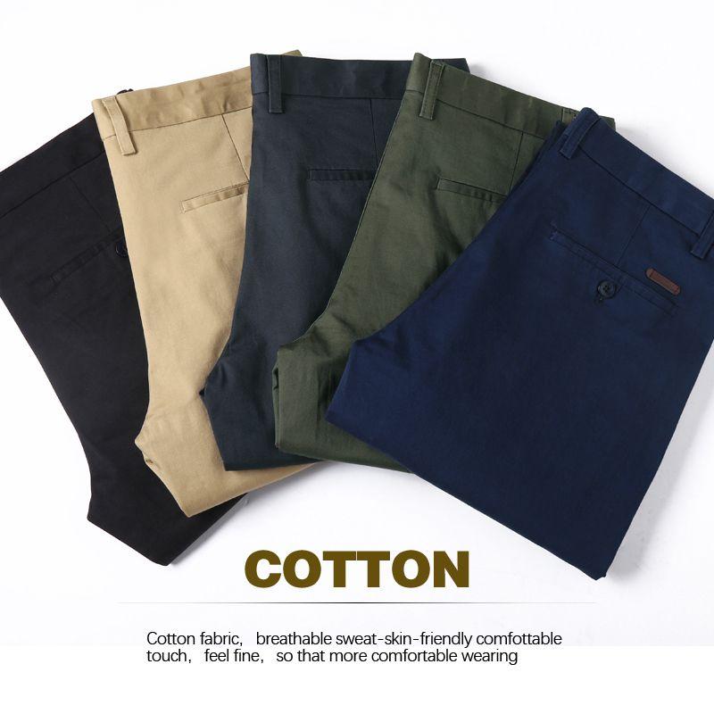 Colore solido pantaloni casuali di 5 colori classica da uomo d'affari di moda Regular Fit Stretch Khaki pantaloni del cotone maschio di marca verde