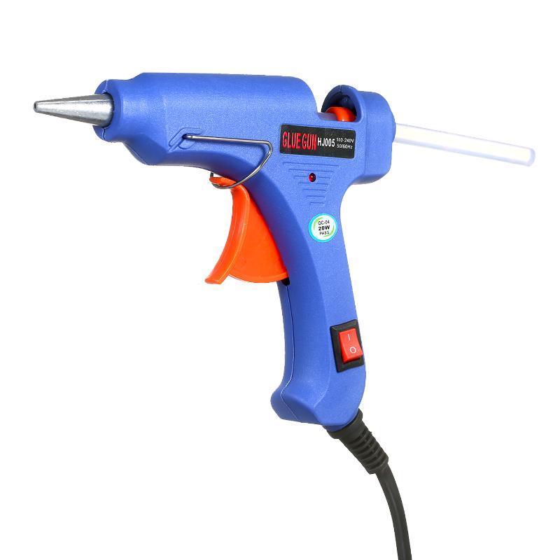 20W Hot Melt pegamento pistola de pegamento caliente del derretimiento de la máquina DIY del arma con el interruptor de botón azul + 3 piezas 7mm Bar