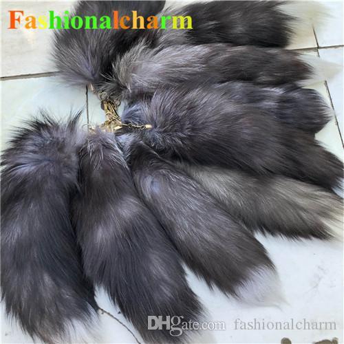 10pcs / lot -Real Genuine cauda Natural Silver Fox Fur Keychians Cosplay Toy Chaveiro encanto do saco do carro de telefone borlas pendentes