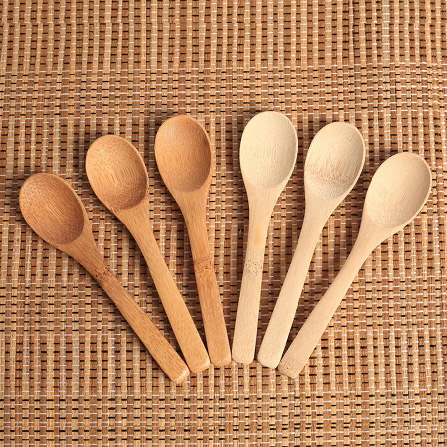 خشبية جام ملعقة عسل الطفل ملعقة قهوة ملعقة الجديدة حساس مطبخ طريق البهارات الصغيرة 12.8 * 3CM RRA2837-6