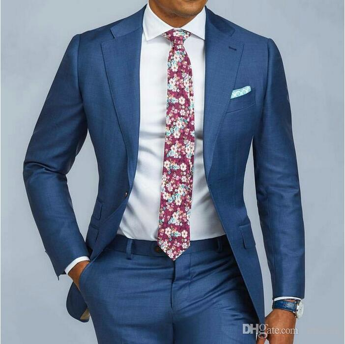 Blue Single Breasted Slim Fit Suits Mens Wedding Custom Prom Suits 2 Pieces Business Formal Tuxedo Suits Men Jacket Pants Ternos CY12