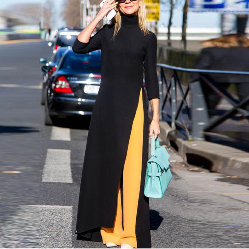 Shengpalae 2019 Nouveau Automne Printemps Mode col roulé noir manches trois-quarts de Split Hem Femme parole longueur robe Sc312 Y190426