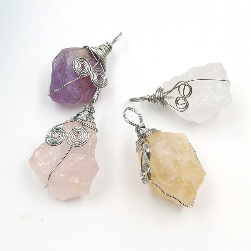 Atacado 5 pcs banhado a prata fio Enrole Irregular Forma Amethyst Stone pingente de quartzo rosa Bijuterias
