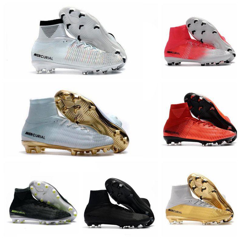 Zapatos para hombre de Los niños de fútbol Mercurial Superfly CR7 V FG Niños Botas de fútbol Magista Obra 2 mujeres de Fútbol Juvenil de las grapas Cristiano Ronaldo
