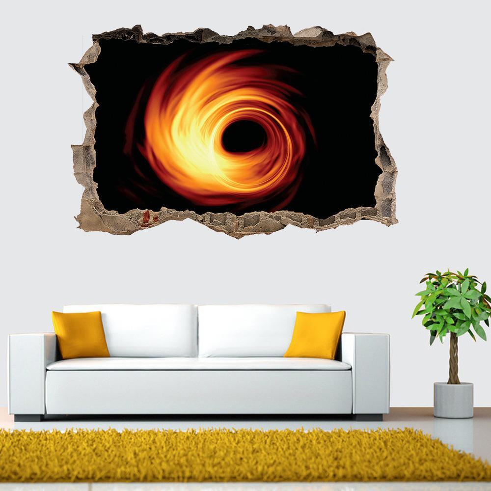 Evren Kara Delik Duvar Sticker Ev Dekorasyon 3D Duvar Sticker Yıldızlı Kara Delik Vortex Serisi Ev Dekorasyon Çıkarılabilir VT0043