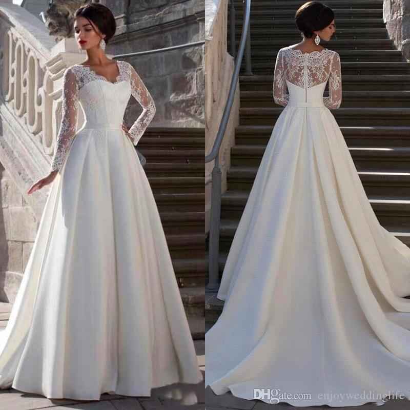 2020 Modest Lace Appliqued A-line Satin Wedding Dress Cheap Sweetheart Neck Sheer Back Cap Long Sleeve Plus Size Bridal Gown BM1619
