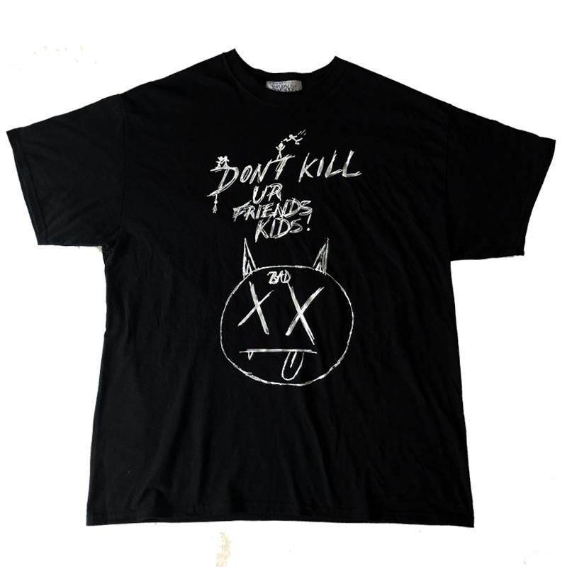 Летние мужские дизайнерские футболки месть плохая рукопись каракули XXXTENTACION модный бренд с длинным рукавом хлопок повседневная
