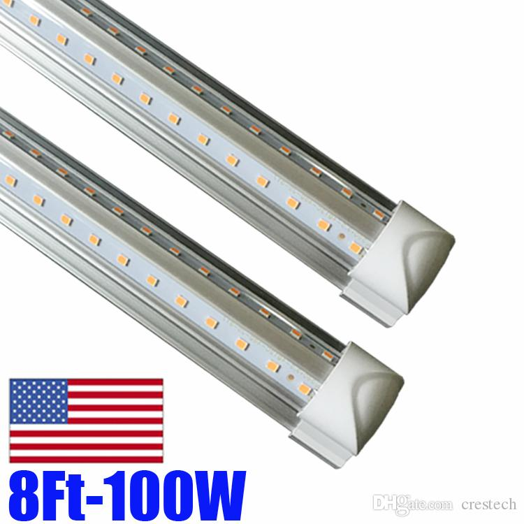 2400mm 8ft T8 LED Tube Light Integrate V Shape Double Side Power Cooler Door Lighting SMD2835 100LM/W AC85-265V 8feet 8 foot