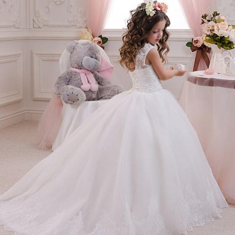 Tule flor meninas vestidos para casamento 2019 novo fresco menino meninas concurso vestido primeiro comunhão vestido