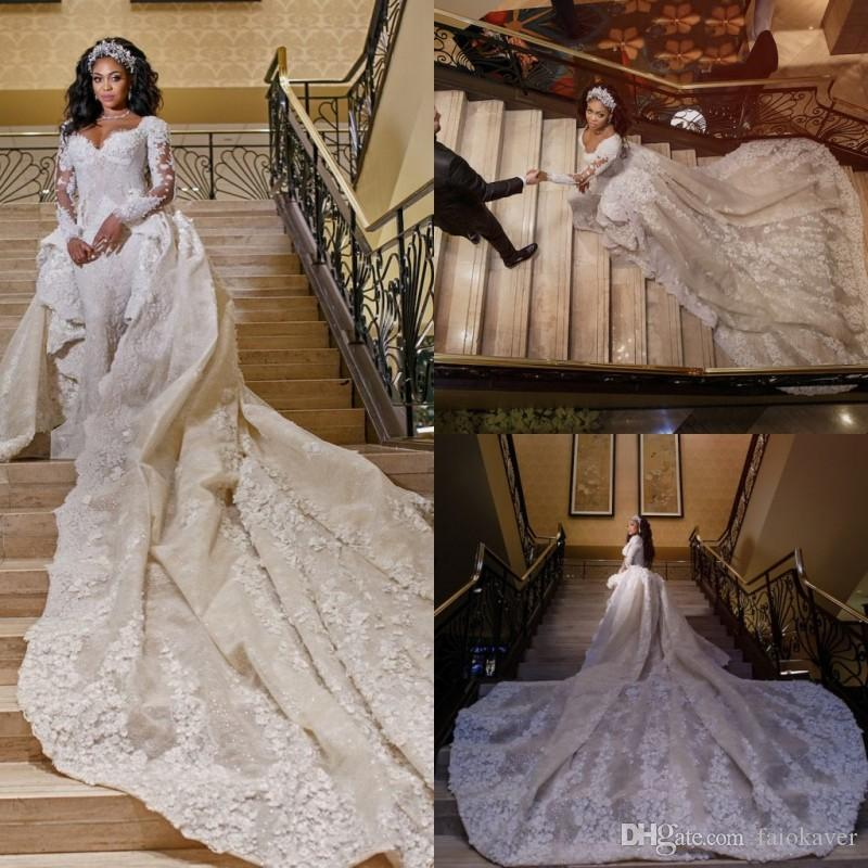 2019 Sereia De Luxo Vestidos De Noiva Com Trem Destacável Lace Appliqued Lantejoulas Manga Longa Vestidos De Noiva Custom Made Vestido De Noiva Africano