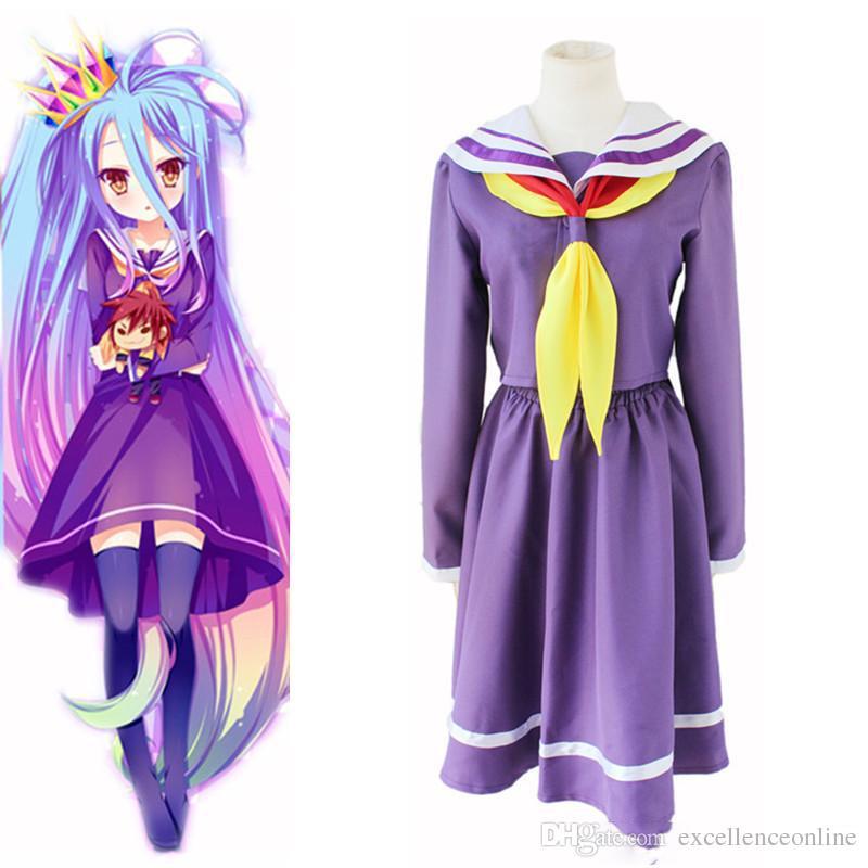 Shiro costumi cosplay Costume da marinaio anime giapponesi No Game No Abbigliamento vita Masquerade / Mardi Gras / Costumi carnevale fornitura a magazzino