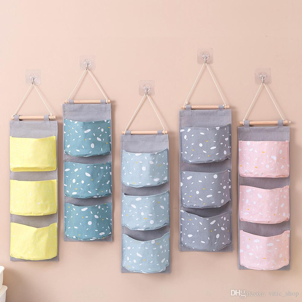 3 Pockets Hanging Storage Bags Laundry Sorting Bag Oxford Cloth Cabinet Closet Hanging Bag Wall Storage Bags SND11