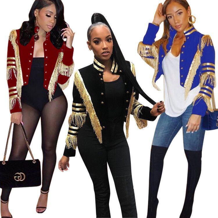 Neueste Artikel !! Goldquasten Damen-Jacken Wunderschöne langen Ärmeln stehen Ausschnitt Knöpfe Art Mädchen kurze Mäntel Herbst-Winter-Qualitäts