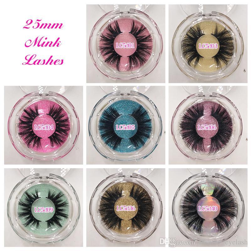 5D 25mm mink cils longs dramatiques véritables mink coiffures cils de cils étiquettes privées emballage personnalisé
