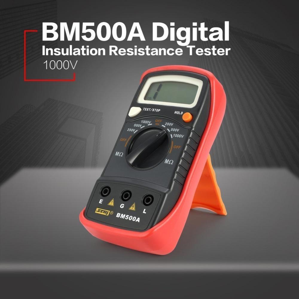 Bm500a 1000v Digital Megger Auto Range Insulation Resistance Ohm Meter Tester Megohmmeter Multimeter Voltmeter Led Indication T8190619