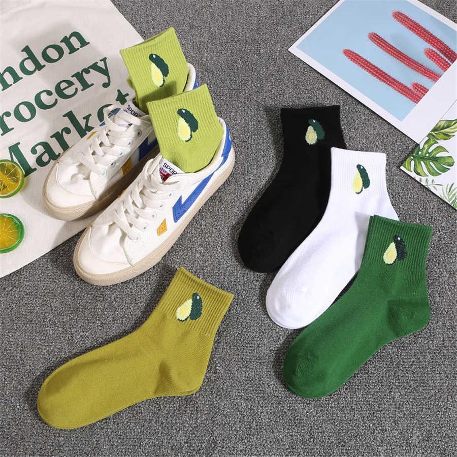 ins stile minimalista avocado calzini signore frutta calze femminili di cotone verde sport simpatici calzini il trasporto libero