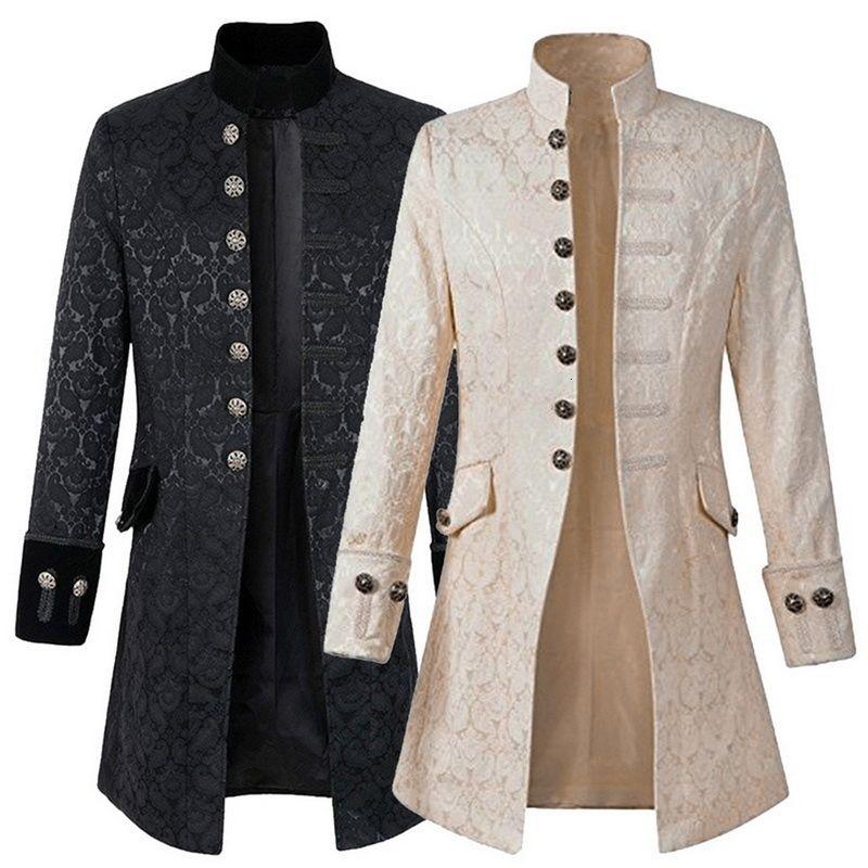 남성 빈티지 재킷 코트 긴 소매 트렌치 코트 고딕 양식의 스팀 펑크 롱 재킷 외투 스팀 펑크 자켓 남성 의류 착실히 보내다 LY191206