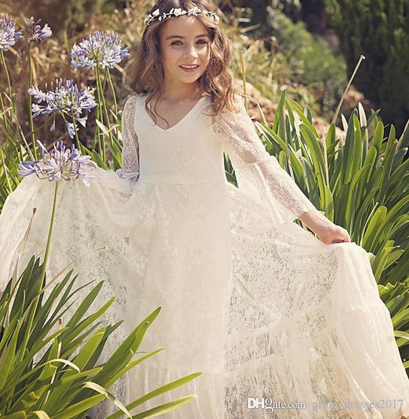 2020 Flower Girl Custom Made praia vestidos de Boho Primeira Comunhão Vestido para a menina V-Neck manga comprida A-Line For Kids vestido de casamento