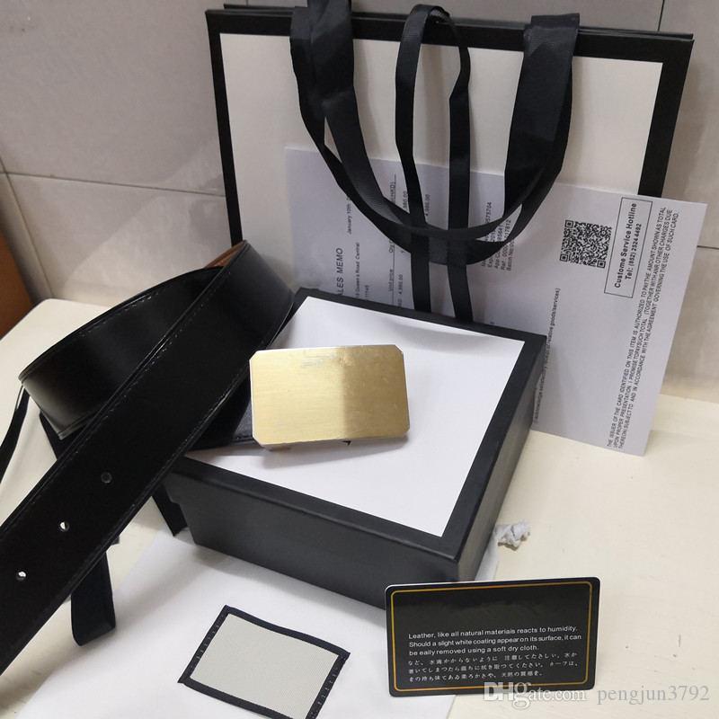 2019 الأكثر مبيعا عالية الجودة حزام من الجلد للرجال والنساء الذهب الإبزيم فضة إبزيم أسود أحزمة التوصيل مجانا مع مربع