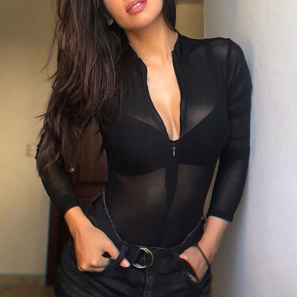 Black Sexy See Through Mesh Bodysuit Zipper Slim Transparent long sleeve tops Fashion 2020 Novelty female Streetwear Jumpsuit
