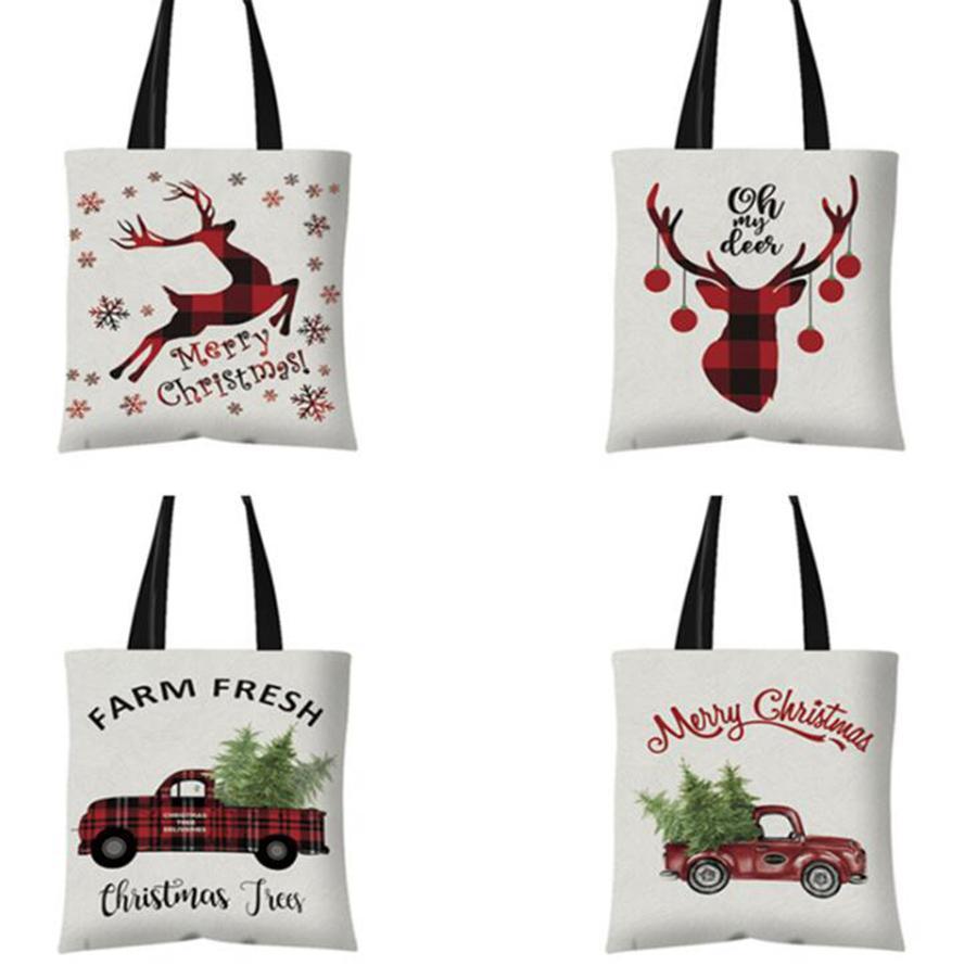 Navidad bolso de lona 21 Estilos muñeco de nieve ciervos Impreso de compras reutilizable Bolsa de caramelo bolsas de mano bolso niñas OOA7453-13