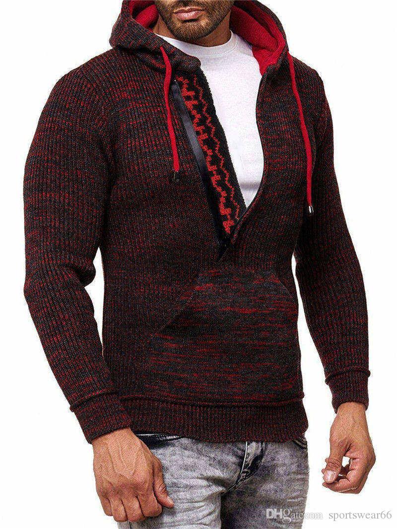 عيد الميلاد رجل مصمم البلوزات كم طويل مقنع رجل قطري زيبر البلوزات الخريف الرجال حك ذكر ملابس
