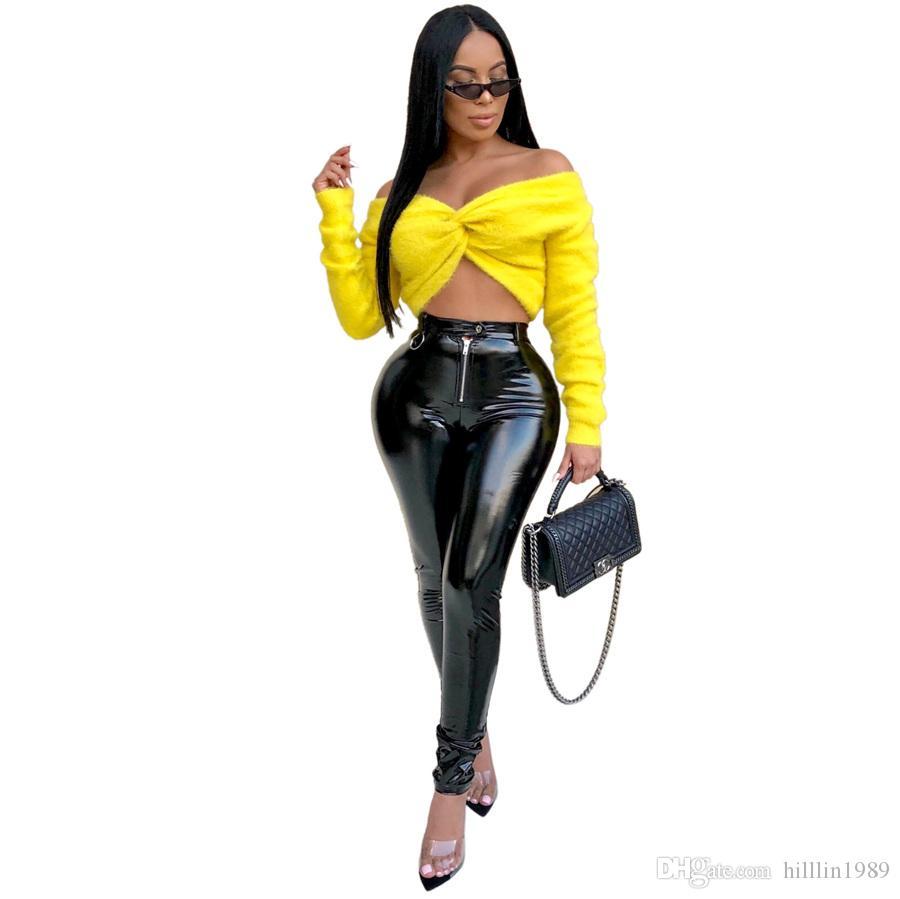 Fashion Women Spring Break Clothes Plus Size PU Pants 30% Off Sexy Wetlook Trousers High Waist Shiny Capris Faux Leather Slim Latex Pants