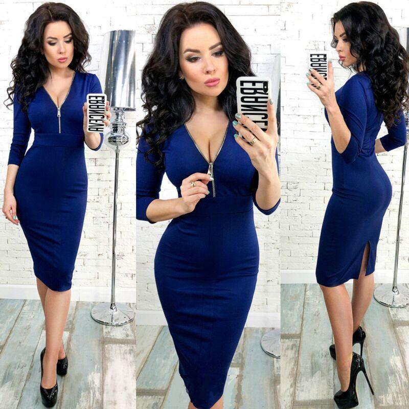 2019 frühling winter frauen elegante dress 2018 neue mode 3/4 hülse arbeit business mantel bodycon reißverschluss rot blau dress vestidos