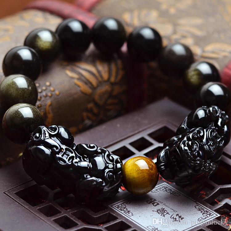 Natural obsidian Drop Shipping Fine carving Gold obsidian beads bracelet Dragon with tiger eyes beads men's bracelet women's bracelet