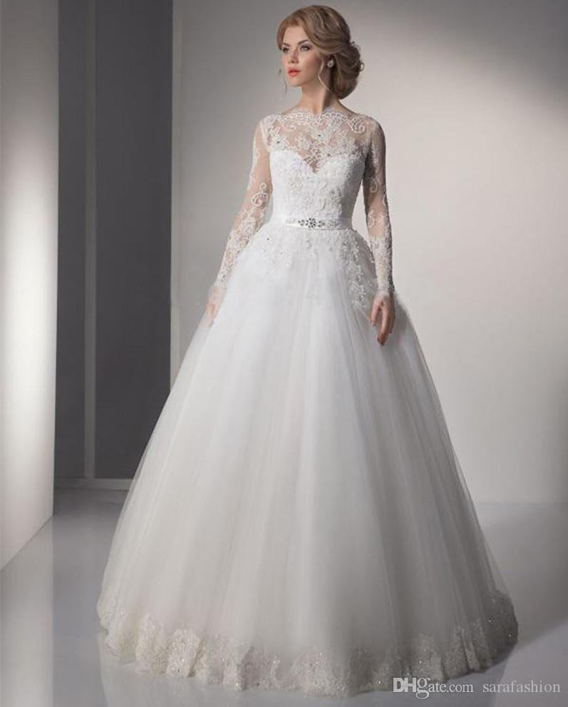 Mangas largas bola Vestidos de la vendimia vestido de novia con encaje apliques 2019 Bateau cuello Vestidos de novia Botón trasero cubierto